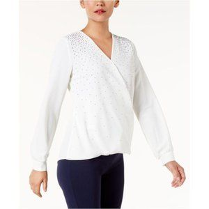!~ Cloud White Embellished Crepe Surplice Top ~!